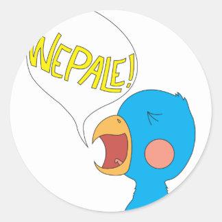 Pájaro de Wepale Etiqueta Redonda