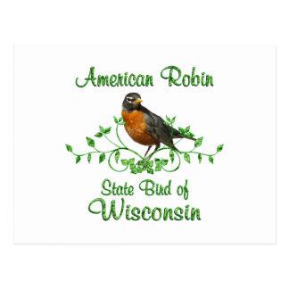 Pájaro de Wisconsin del petirrojo Tarjeta Postal