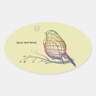 pájaro del alambre del color del arco iris pegatina ovalada