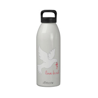 Pájaro del amor botellas de agua reutilizables