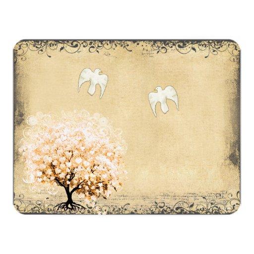 """Pájaro del amor de la paloma del árbol coralino de invitación 4.25"""" x 5.5"""""""