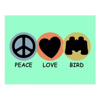 Pájaro del amor de la paz tarjeta postal