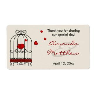 Pájaro del amor en etiquetas del favor del boda de etiqueta de envío