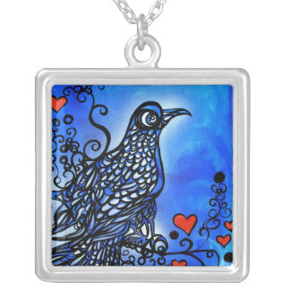 Pájaro del amor I Colgante Cuadrado