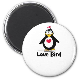 Pájaro del amor imán redondo 5 cm