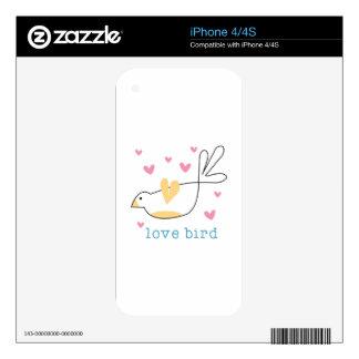 Pájaro del amor skins para eliPhone 4S