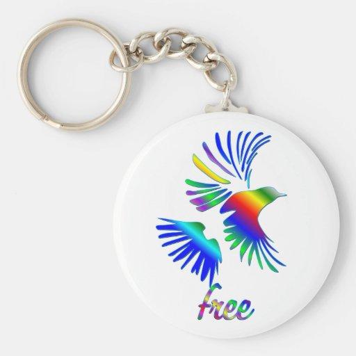 Pájaro del arco iris llaveros personalizados