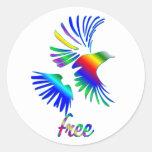 Pájaro del arco iris pegatina redonda