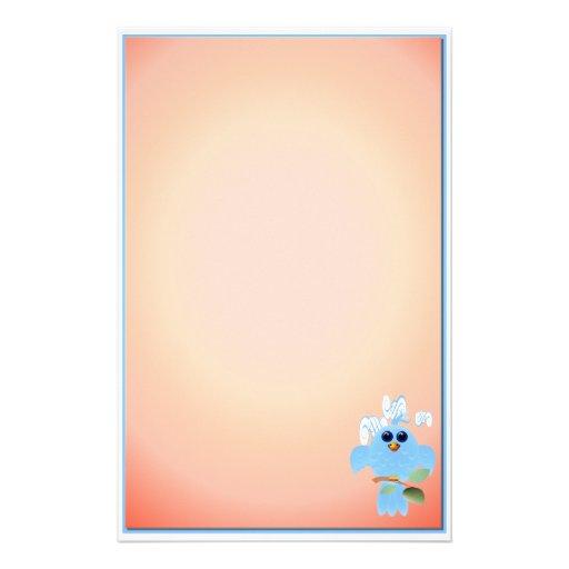 Pájaro del azul de cielo inmóvil papeleria personalizada