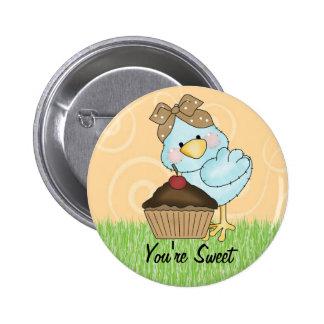Pájaro del azul de la tarjeta del día de San Valen Pin Redondo De 2 Pulgadas
