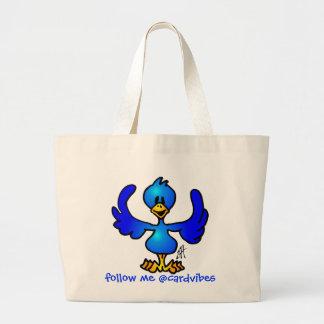 Pájaro del azul de Twittering Bolsa Tela Grande