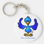 Pájaro del azul de Twittering Llavero