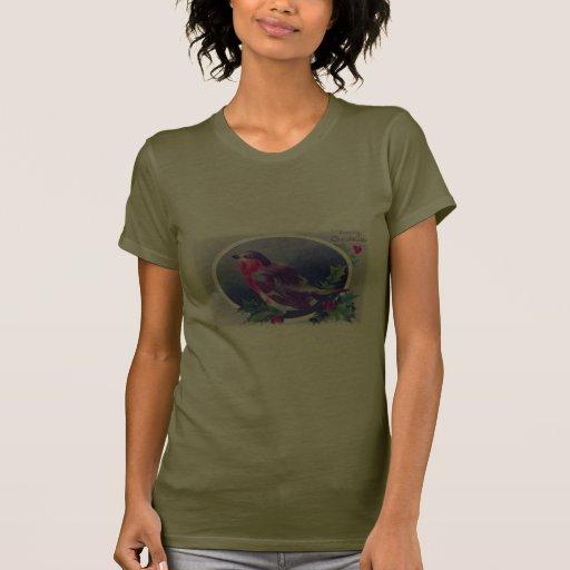 Pájaro del azul del navidad camisetas