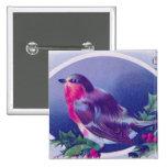 Pájaro del azul del navidad chapa cuadrada 5 cm
