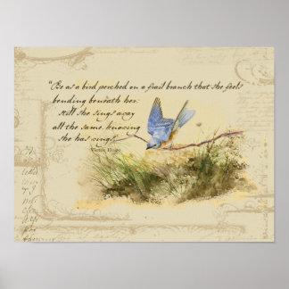Pájaro del Bluebird en el poema de Victor Hugo de Póster