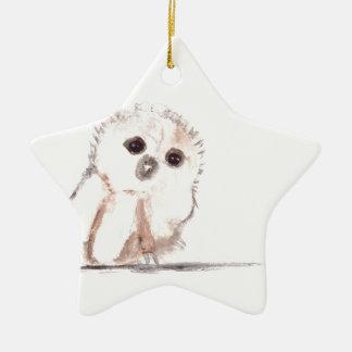 Pájaro del búho del bebé pequeño adorno de cerámica en forma de estrella