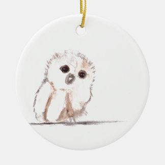 Pájaro del búho del bebé pequeño adorno redondo de cerámica