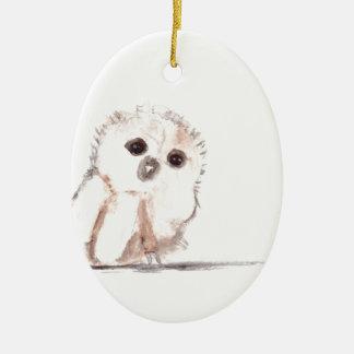 Pájaro del búho del bebé pequeño adorno ovalado de cerámica