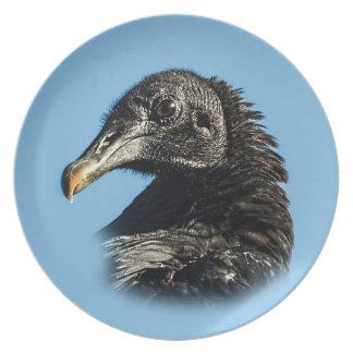 Pájaro del buitre negro en azul plato para fiesta