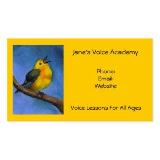 Pájaro del canto: Arte: Lecciones de la voz, del Tarjetas De Visita
