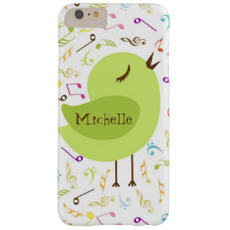 Pájaro del canto con las notas musicales funda para iPhone 6 plus barely there