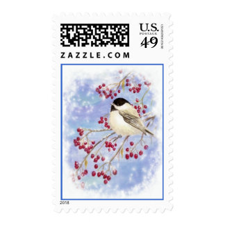 Pájaro del Chickadee en baya de la nieve del Timbre Postal