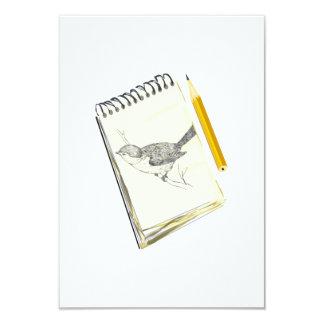 """Pájaro del cojín de bosquejo invitación 3.5"""" x 5"""""""