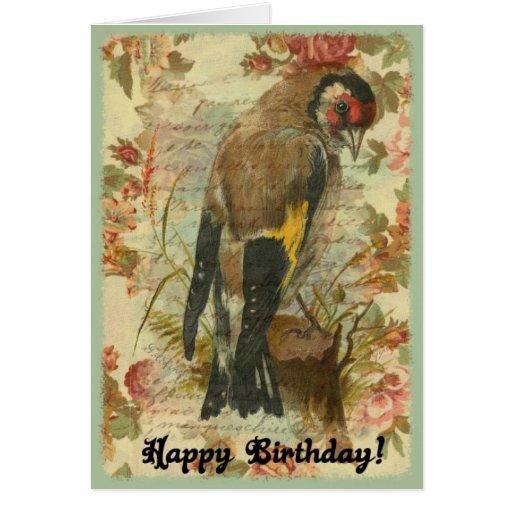 Pájaro del cumpleaños del vintage con el fondo flo tarjeton