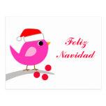 Pájaro del día de fiesta de Feliz Navidad Tarjetas Postales
