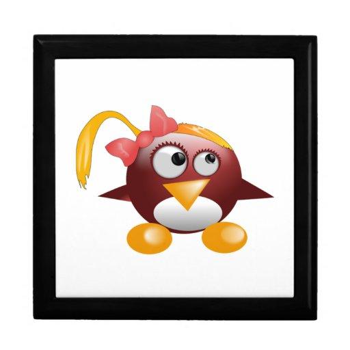Pájaro del dibujo animado del chica caja de recuerdo