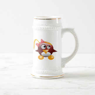 Pájaro del dibujo animado del chica taza de café