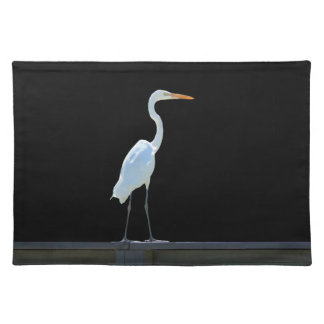 Pájaro del Egret en Placemat que cerca con barandi Manteles Individuales