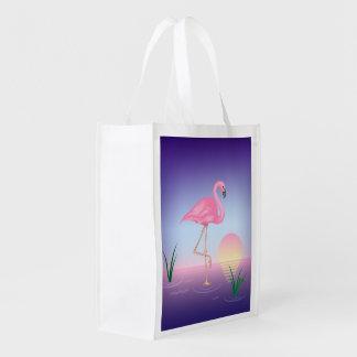 Pájaro del flamenco bolsas reutilizables