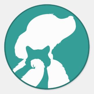 Pájaro del gato del perro pegatinas redondas