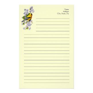 Pájaro del Goldfinch y amarillo de los flores de Papeleria