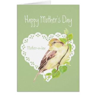 Pájaro del gorrión de la suegra de la diversión tarjeta de felicitación
