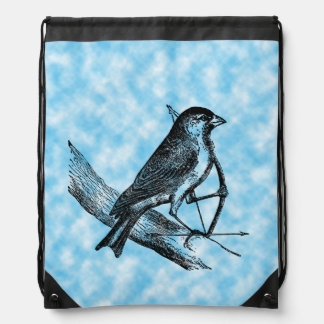 Pájaro del gorrión del tiro al arco con el vintage mochilas