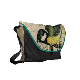 Pájaro del gorrión del vintage y la bolsa de mensa bolsas de mensajeria