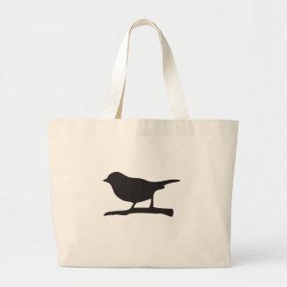 Pájaro del gorrión y silueta negra y blanca de la  bolsa tela grande