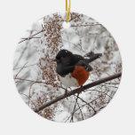 Pájaro del invierno en la nieve adorno redondo de cerámica