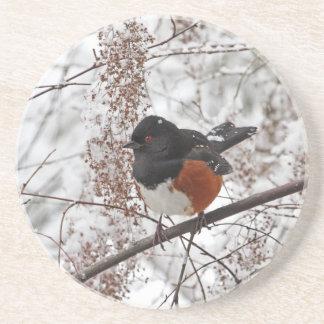 Pájaro del invierno en la nieve posavasos cerveza