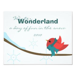 Pájaro del invierno invitación personalizada