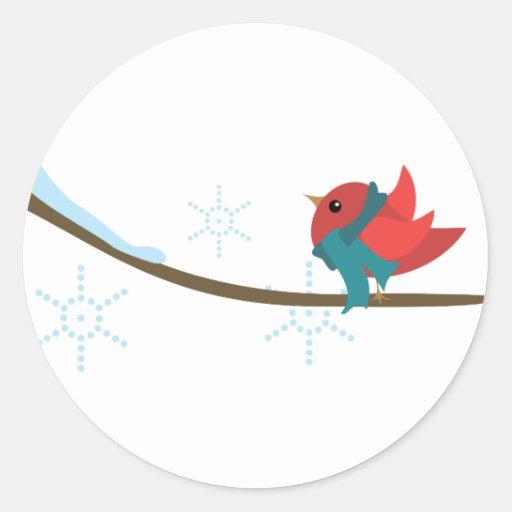 Pájaro del invierno pegatinas redondas