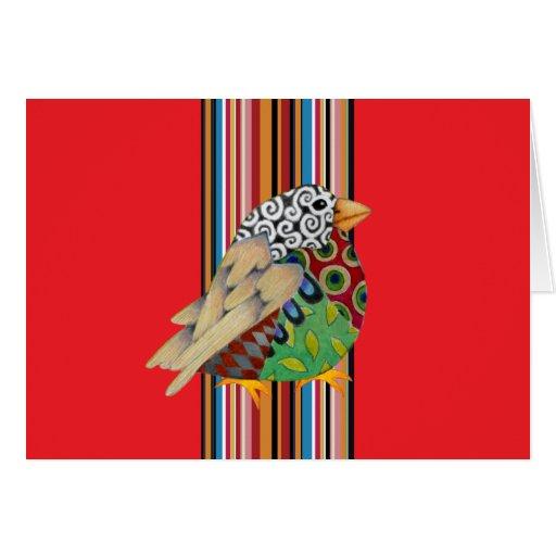 Pájaro del jazz Notecard en blanco (rojo)