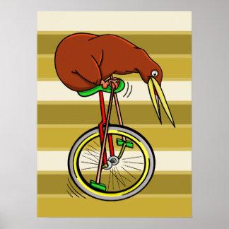 Pájaro del kiwi en un dibujo animado divertido del póster