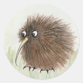 Pájaro del kiwi pegatina redonda