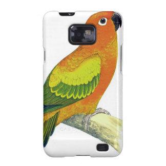 Pájaro del loro del amarillo anaranjado y del verd samsung galaxy s2 carcasa