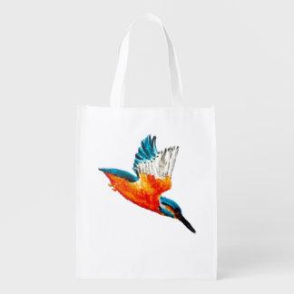 Pájaro del martín pescador del vuelo bolsas de la compra