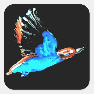 Pájaro del martín pescador en la noche pegatina cuadrada