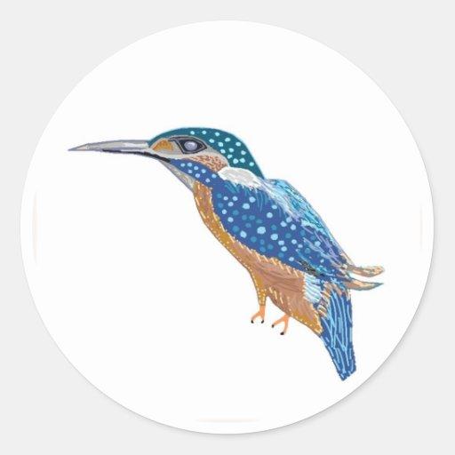 Pájaro del martín pescador etiqueta redonda
